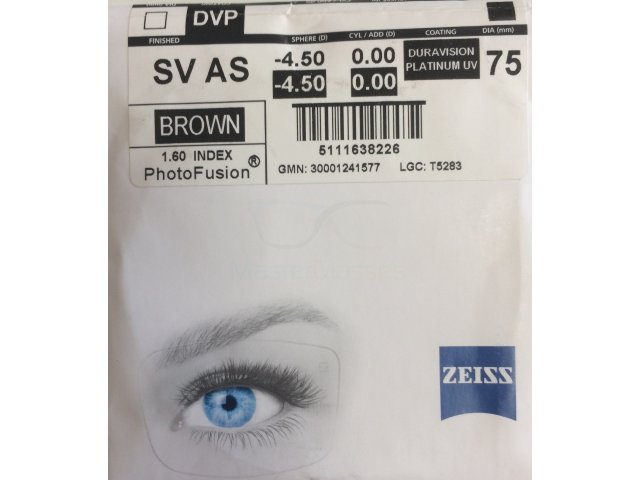 Zeiss Single Vision AS 1.6 PhotoFusion DVP UV (Dura Vision Platinum UV) (Brown/Grey)