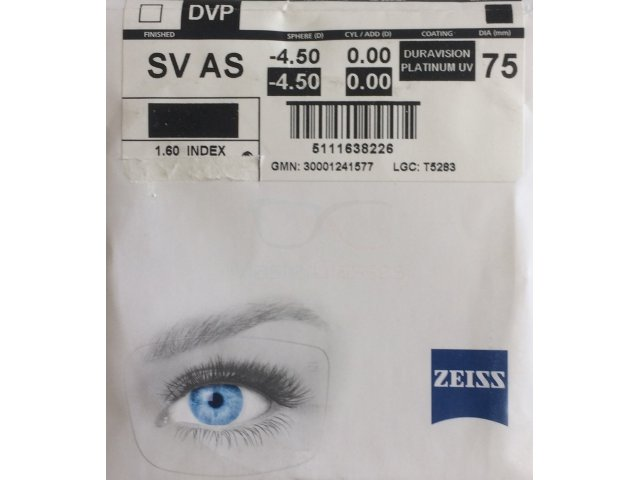 Zeiss Single Vision AS 1.6 DVP