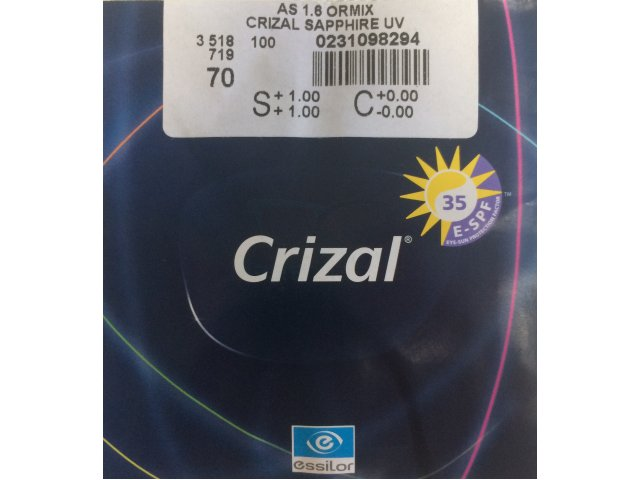 AS Ormix 1.61 Crizal Sapphire UV