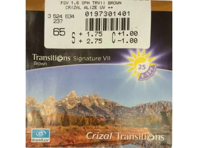 Essilor 1.61 Ormix Transitions Signature VII Crizal Alize+ UV Gray/Brown